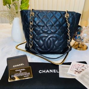 CHANEL quilted caviar leather petite tote